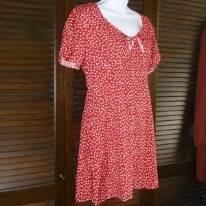 Little Red & White Floral Dress, M, NWOT